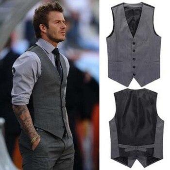 2019 New Men's Fashion Boutique Cotton Fashion Solid Color Casual Suit Vest Men's Black Gray Formal Businss Vest Wedding Dress