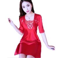 Ladies Sexy Silk Satin Night Dress Sleepwear Short Sleeve Nightwear Lace Nightgown Nightdress Nighties For Women