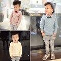 Мальчики свитера дети мальчик осень-весна o-образным вырезом с длинным рукавом бежевый синий розовый твердые кардиган ребенка вязать свитер детская одежда 3-6 Т