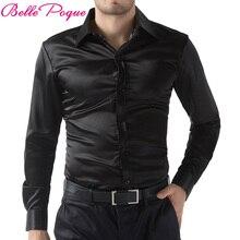 Черная/винно-красная/фиолетовая повседневная мужская Стильная приталенная короткая Однотонная рубашка с длинным рукавом Топы Camisa Masculina размера плюс 5250