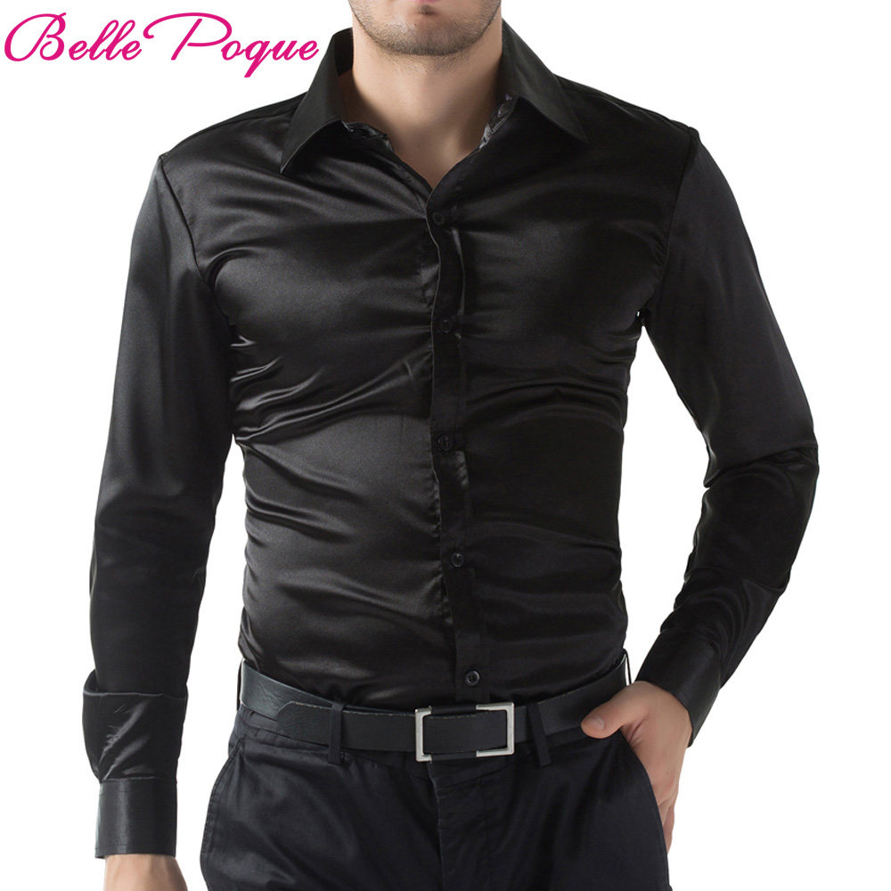 Online Shop New Gold Silk Satin Shirt Men Chemise Homme 2017 Fashion Kemeja Pria Short Sy860 Black Wine Red Purple Casual Stylish Slim Fit Solid Color Long
