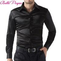 2017 Czarny/Wine Red/Fioletowy Casual Mężczyźni Stylowy Slim Fit Krótkie Jednolity Kolor bluzy Z Długim Rękawem Topy Camisa Masculina Plus Rozmiar 5250