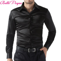 2015 Black Wine Red Purple Casual Men Stylish Slim Fit Short Solid Color Long Sleeve Shirts