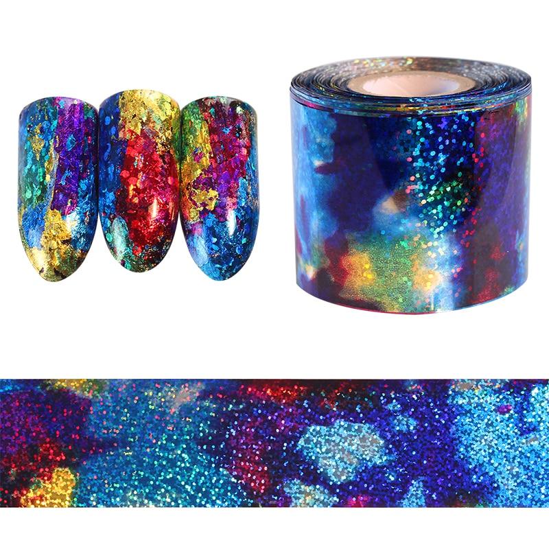1M Gradient Starry Sky Nail Foil Blue Holographic Paper Decals Decor Nail Art Sticker Decoration Accessories blue sky чаша северный олень