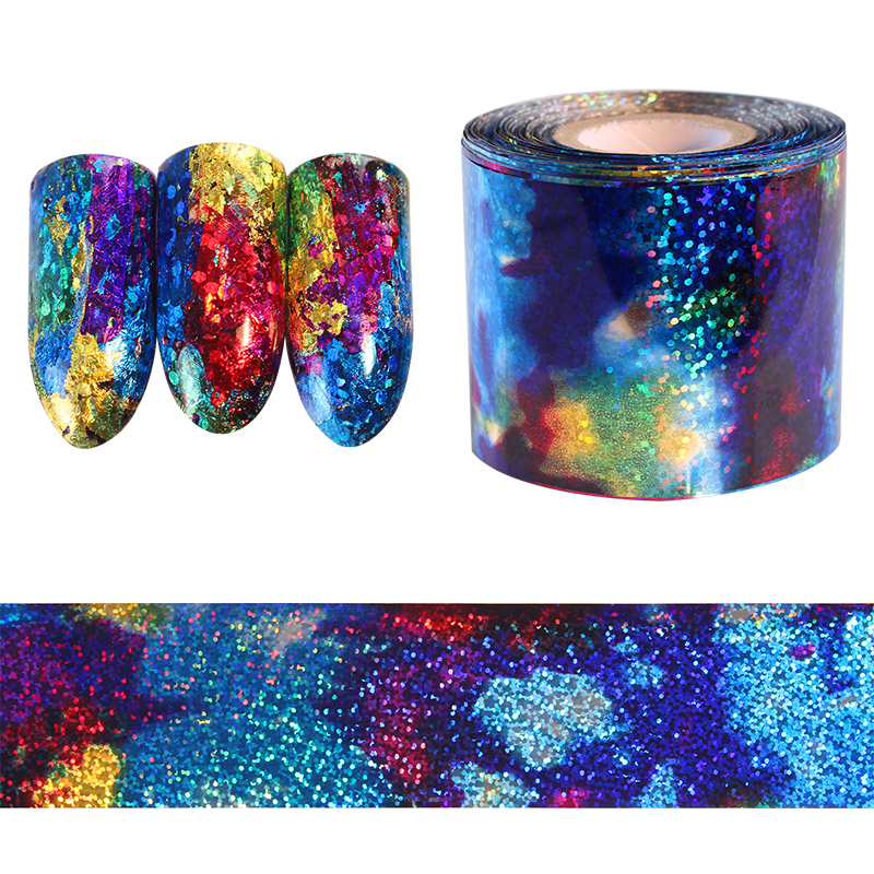 BORN PRETTY 1M Gradient Starry Sky Nail Foil Blue Holographic Paper Decals Decor Nail Art Sticker Decoration Accessories