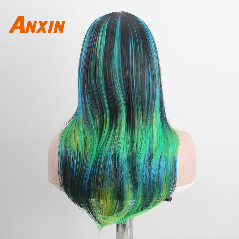 Anxin Long Wigs for Black Women White Girls Colorful Multicolor Fashion Cosplay Clown Wig Hair Synthetic Wigs High Temperature