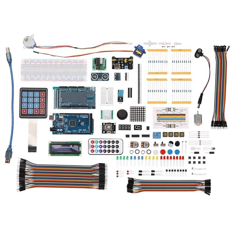 Ensemble de composants électroniques bricolage avec boîte en plastique approprié Kit d'apprentissage de démarreur ultime pour Arduino Mega 2560 Lcd1602 Servo Moto