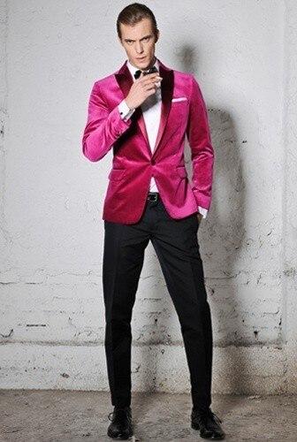 2016 New arrival Designed Pink slim fitted Peak Lapel tuxedo / Prom suit /one button wedding suit for men(bowtie+pants+jacket)
