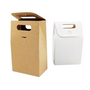 Image 2 - 50 יח\חבילה קינוח אריזת תיבת חתונה חום & לבן קראפט שקית נייר ריק יום הולדת מתנת קופסות ממתקי שקיות עוגת המפלגה ספקי