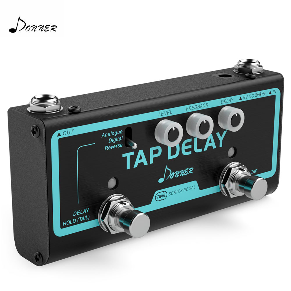 Donner 3 in 1 Tap Delay Guitar Effect Pedal Analogue Digital Reverse Delay Effects With Tap