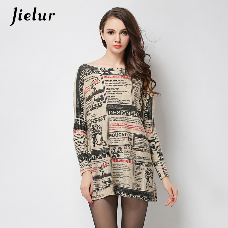 Jielur Fall Europe Fashion Letters Printed Women's Winter Sweaters And Pullovers Plus Size Wool Blended Knitted Sweater Lady Top