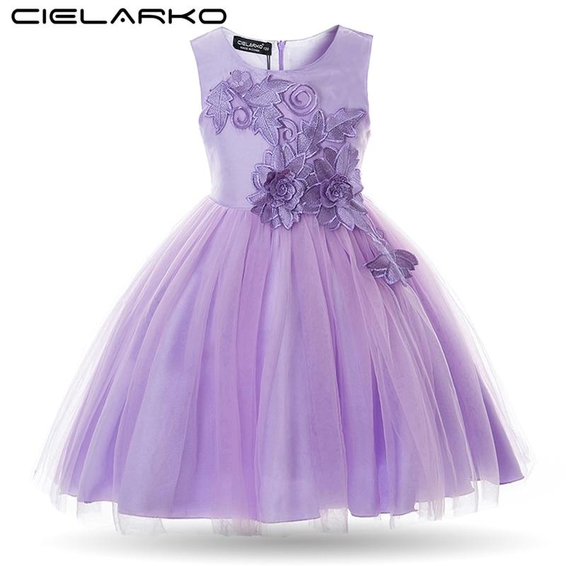 Cielarko Girls Dress Formal Kids Flower Dresses Appliques Sleeveless Children Prom Ball Gowns Baby Wedding Party Frocks for Girl