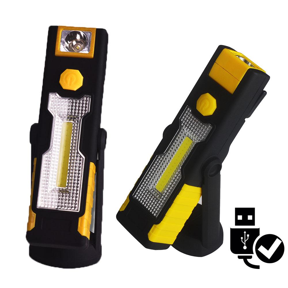 POPPAS Mirco USB Work Light Portable Spotlight LED Flashlight Rechargeable Outdoor LED Flashlight Lanterns
