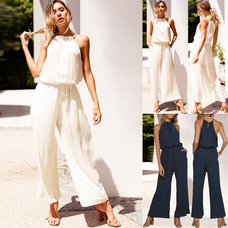 Cross-border Foreign Trade Hot Sale 2019 Summer Sexy Laced Backless Loose Pocket Female Jumpsuit Pants