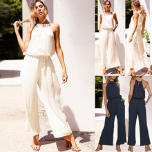Cross-border Foreign Trade Hot Sale 2019 Summer Sexy Laced Backless Loose Pocket Female Jumpsuit Pants focus on cross border fast selling oil paint snoopy digital printing 3d t shirt direct sale by foreign trade manufacturers