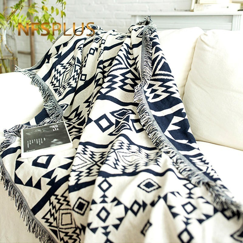 Geometric Throw Blanket with Tassel For Sofa Bed 130x180cm Cotton Thicken Crocheted Jacquard Decorative Sofa Cover Floor Carpet