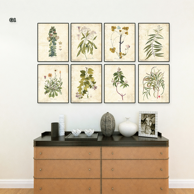 Vintage Green leaves aromatique watercolor style art prints 8 in 1 ...
