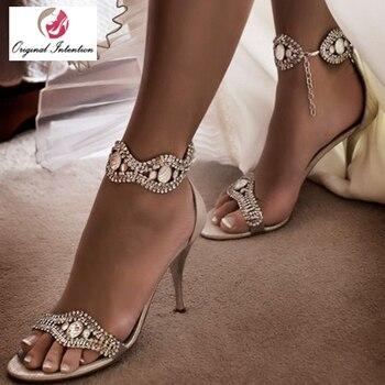 Original Intention Elegant Women Sandals Summer Open Toe High Heel Shoes Woman Gladiator Rhinestone Sandalias Mujer Buckle New