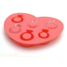 Hot Selling 6 Grids Silicone Ice Tray Diamond Love Ring Shape DIY Chocolate Cream Freeze Mold Maker Mould For Summer