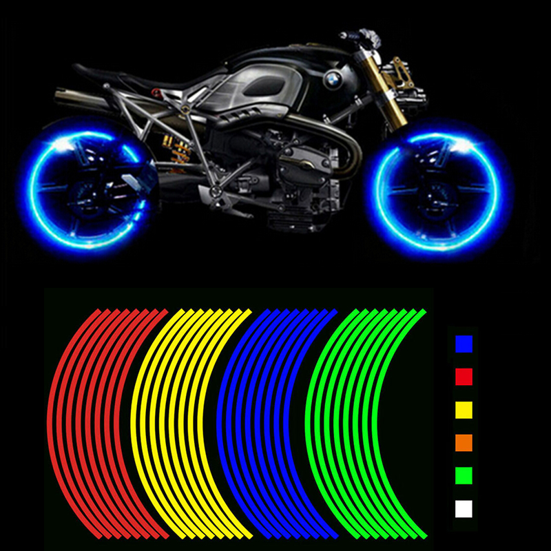 Buy Two Get One Free! Motorcycle Styling Wheel Hub Rim Stripe Reflective Decal Stickers Safety Reflector For YAMAHA 8m 1cm colorful reflective stickers strip motorcycle bicycle fluorescent reflector safety rim decal tape for motorbike bike