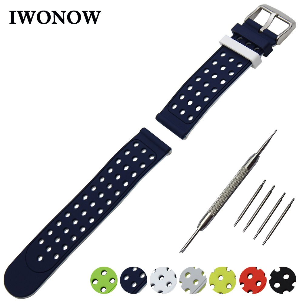 Silicone Rubber Watch Band 21mm 22mm 23mm 24mm for Armani Double Side Wearing Strap Wrist Belt Bracelet + Tool + Spring Bar