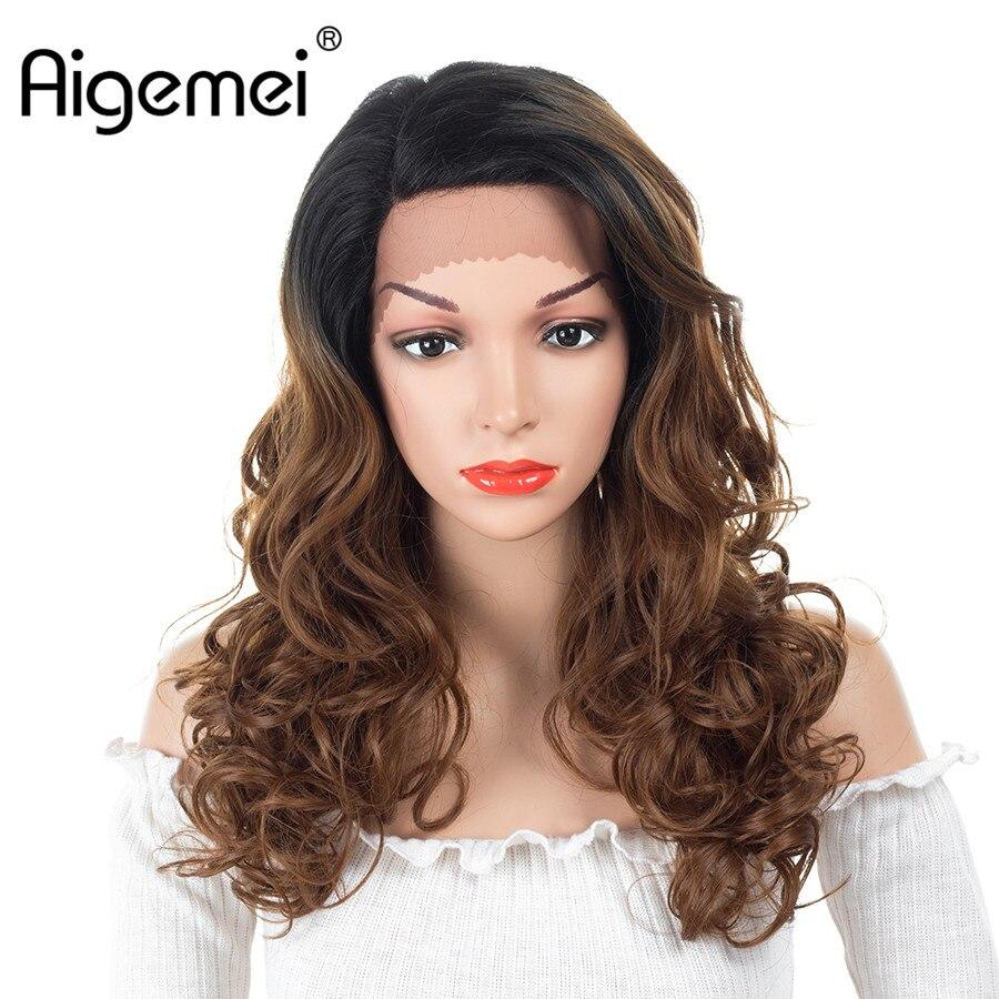 Aigemei 16 polegadas OT27/OTBug/OT30 Cores Curto Peruca Resistente Ao Calor Curly Perucas Glueless Rendas Frente Perucas Sintéticas para As Mulheres