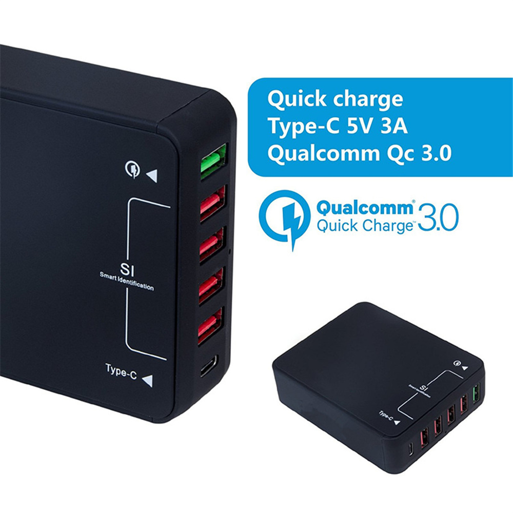 Multi Port QC 3.0 5-Port USB Charger+Type C Ports USB Wall Fast Charger Power Adapter for Samsung/HuaWei/Iphone Mobile PhoneMulti Port QC 3.0 5-Port USB Charger+Type C Ports USB Wall Fast Charger Power Adapter for Samsung/HuaWei/Iphone Mobile Phone