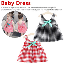 Baby Girls Dress with big bow floral lattice Printed Kids Clothes for summer Clothing Infant Tank dress 73-80cm stylish floral big bow girls dress