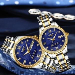 Image 1 - NIBOSI Couple Watch Women Men Luxury Crystal Quartz Wrist Watches Lovers Clock Week Date Gold Blue Montre Femme Relogio Feminino