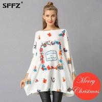 SFFZ Novo Feliz Ano Novo Natal Mulher Camisolas Pullovers Casual Imprimir Soltas Sueter Mujer Camisola de tricô Pulôver de Navidad
