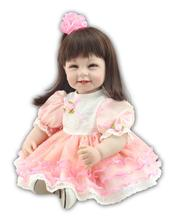 NPK 22 girl doll reborn toys with red pink dress silicone baby dolls 55 cm real looking child bebe gift for mom playmate