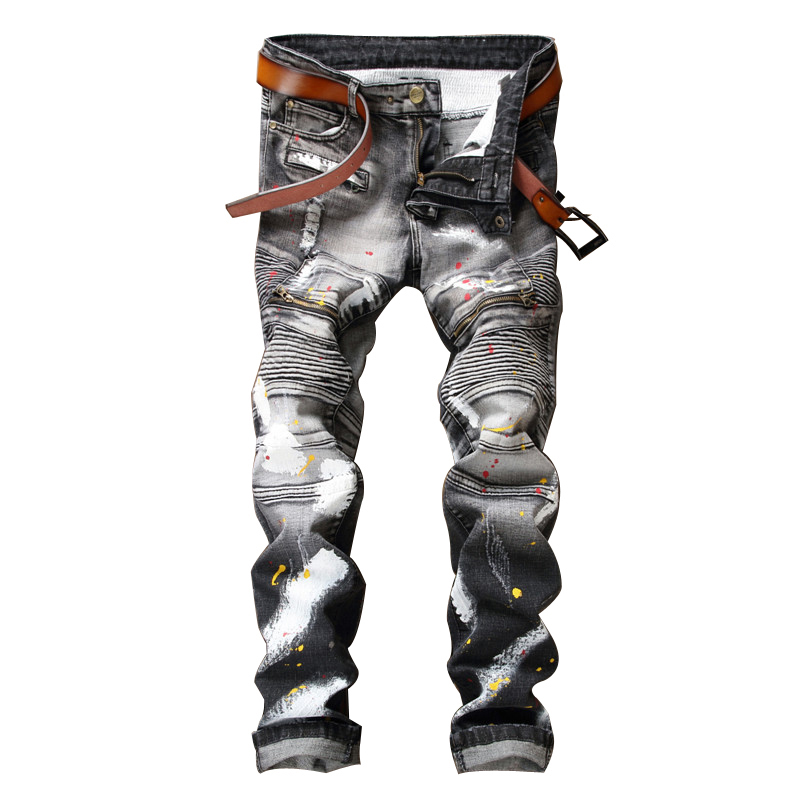 NEW Classic pants Men Biker Moto Jeans Slim hip hop Splashed Ink Denim Blue red Hip Hop Streetwear Rap Jeans ,NO belt блендер погружной philips hr1627 00 650вт белый