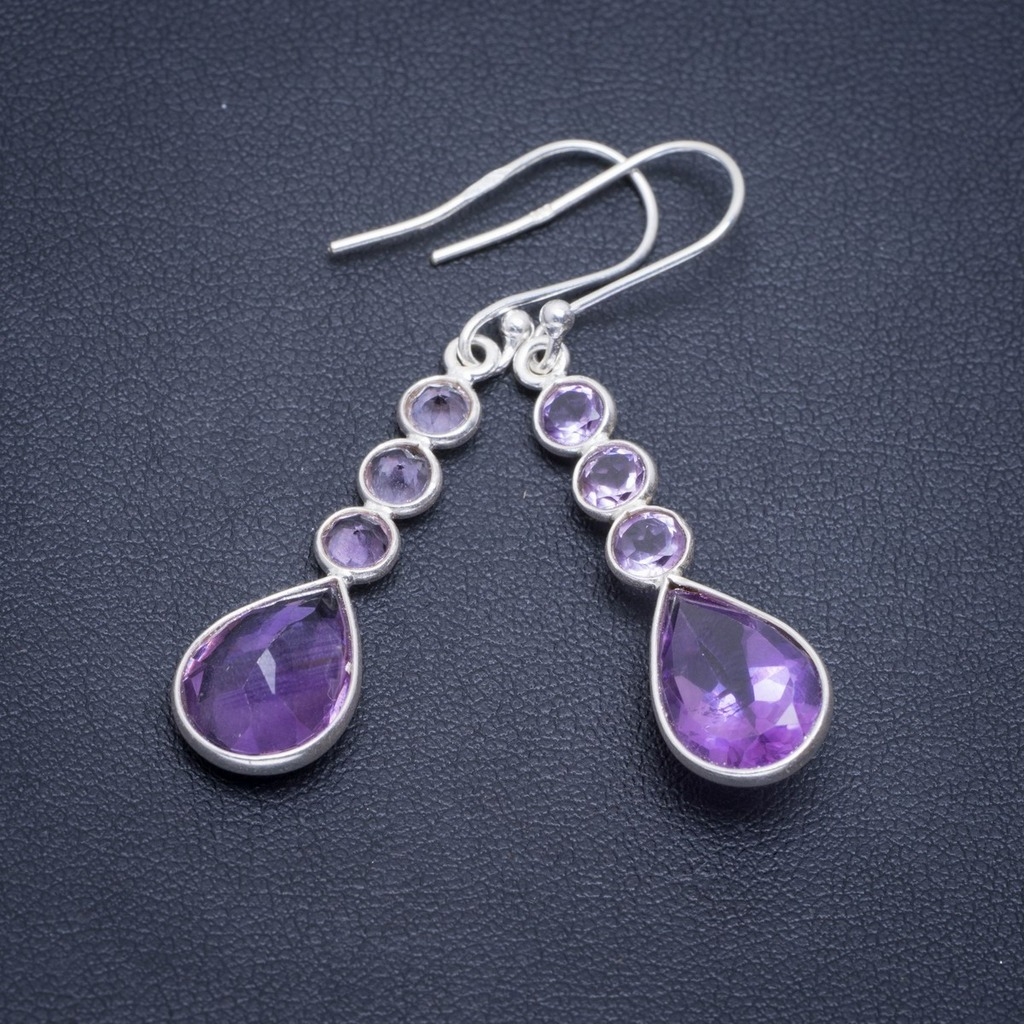 Natural Amethyst Handmade Unique 925 Sterling Silver Earrings 2 A2296Natural Amethyst Handmade Unique 925 Sterling Silver Earrings 2 A2296