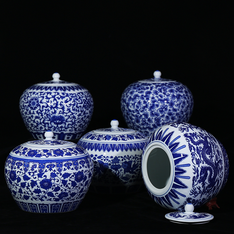 Jingdezhen Ceramics Ancient Blue and White Storage Tank Candy Tank with Cover Sealed Tank Home Jewelry Living Room ArrangementsJingdezhen Ceramics Ancient Blue and White Storage Tank Candy Tank with Cover Sealed Tank Home Jewelry Living Room Arrangements
