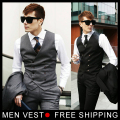 New  Mens Stylish Design Formal Vest Slim Skinny Casual Waistcoat Sleeveless Business Jacket  Free shipping