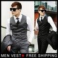 Nueva hombres con estilo diseño Formal de chaleco delgado flaco ocasional sin mangas del chaleco de negocios chaqueta envío gratuito