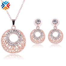 Rhinestone Austrian Crystal Chain Pendant Necklace + Earrings Jewelry Sets Geometric Round Free shipping