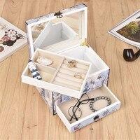 Elegant Wedding Wooden box European jewelry box Mediterranean Cover Mirror House Family Cabinet Craft gift Holder Storage Case