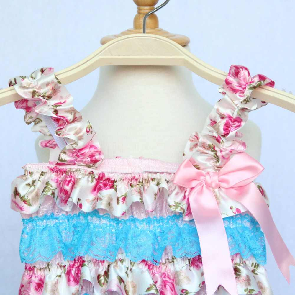 13af07ff688d ... Blue Floral Petti Ruffle Baby Lace Romper 1st Birthday Cake Smash  Outfit Toddler Infant Jumpsuit