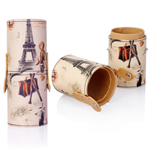 New Empty Round Box Holder Cosmetic Craft Tool Makeup Brush Pen Holder Organizer PU Leather Cup Container Random Color Pattern