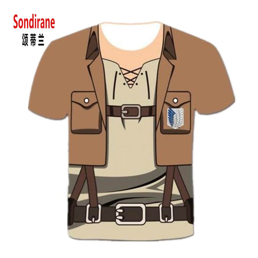 Sondirane Newest Men/Women 3D Attack on Titan Print Cool Graphic Tees Summer Fashion Short Sleeve Fake Two Pieces T Shirt Tops