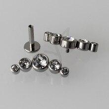 G23 Titanium chrząstka ucha Helix Tragus Stud 16G wewnętrznie gwintowane Labret Lip Piercing biżuteria do ciała