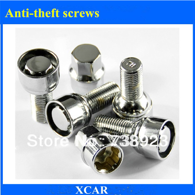 Free shipping!4pcs Car tires Anti-theft screws For Skoda Octavia Fabia Superb With 1 PC Key