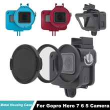 Hero5 Camera protective Housing case For GoPro Hero 7 6 Cooling frame aluminum alloy shell Go Pro Hero6 Metal cage + UV filter