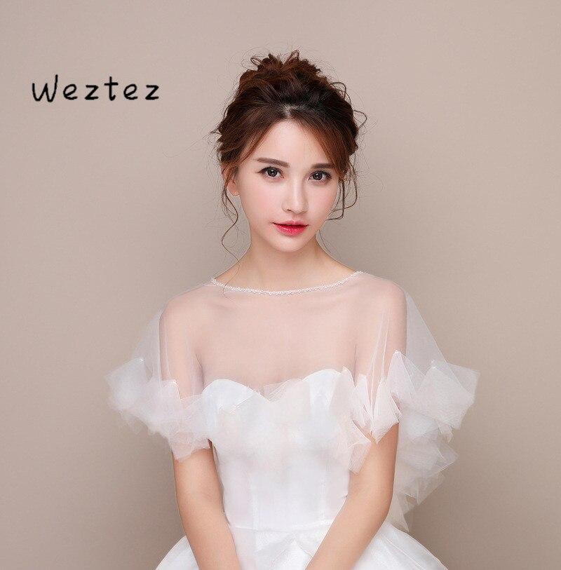 Short Women Wedding Cape Shawl Elegant Tulle Bridal Bolero Wraps See Through Organza Ruffle Bridal Bridesmaids Accessories PJ15