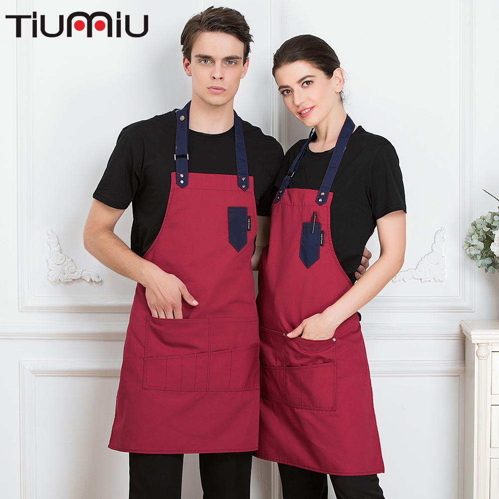 2019 Chef Waiter Adjustable Apron Restaurant Kitchen Cooking Cuisine Cafe BBQ Apron For Women Men With Pocket Work Wear Apron
