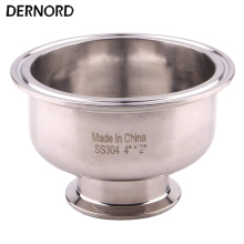 DERNORD 4'' to 2'' Tri Clamp Bowl Reducer, Sanitary Fitting Stainless Steel 304, Hemispherical Tri-clamp Reducer 2 pneumatic sanitary butterfly valve stainless steel 304 tri clamp actuator single acting