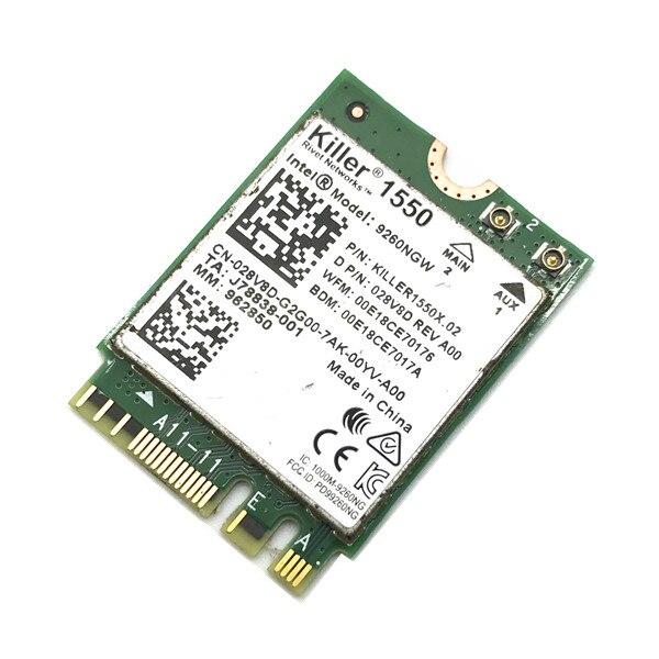 Pour Tueur 1550 Intel 9260 9260NGW NGFF 1730 Mbps WiFi + Bluetooth 5.0 802.11ac Carte Mieux que Tueur 1535