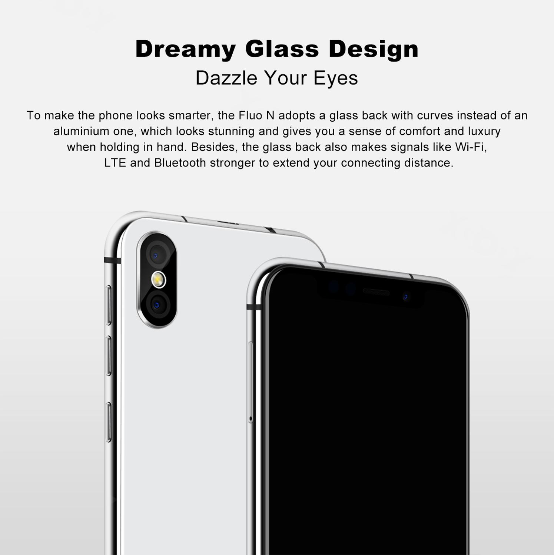 19:9 encoche écran XGODY Fluo N 4G déverrouiller 5.7 pouces Smartphone Android 8.1 Oreo Quad Core 3 GB + 32 GB Face ID téléphone Mobile 2500mAh - 5