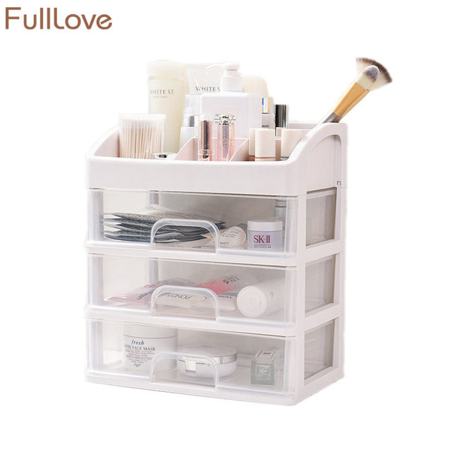 Modern Plastic Makeup Storage Box Drawer Stationery Holder 3 Layer Glossy Cosmetic Organizer Bathroom